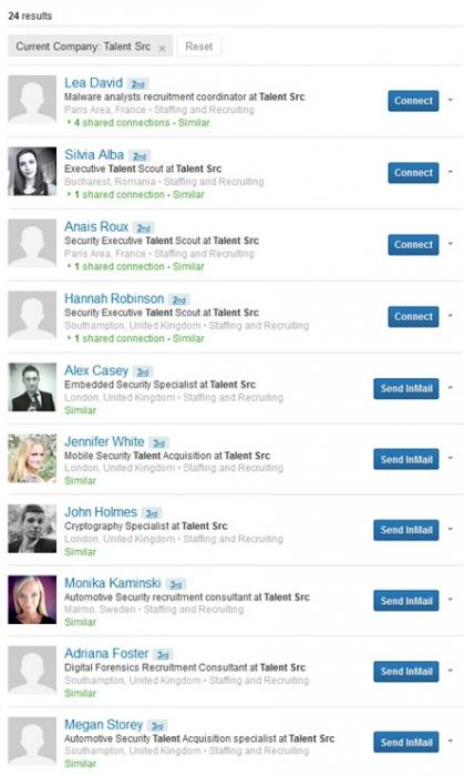 Figure 5 – Bogus Recruiter account used for Intelligence Gathering activities on LinkedIn